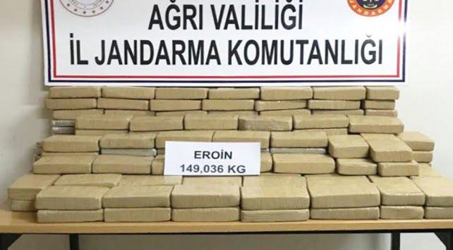 Ağrı'da 149 kilo eroin yakalandı